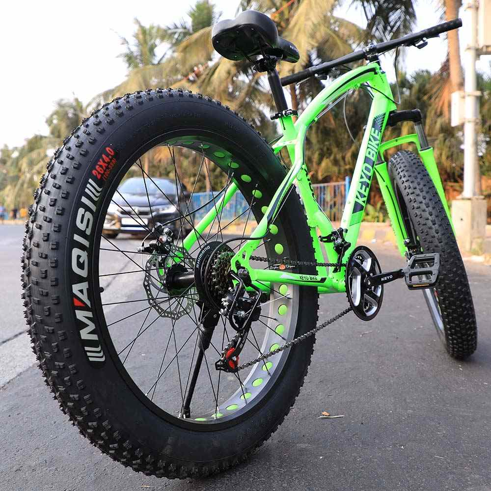 K006 Fat Tyre Mountain Cycle 21 Speed Gears Shimano For Adults Steel Body (Green)