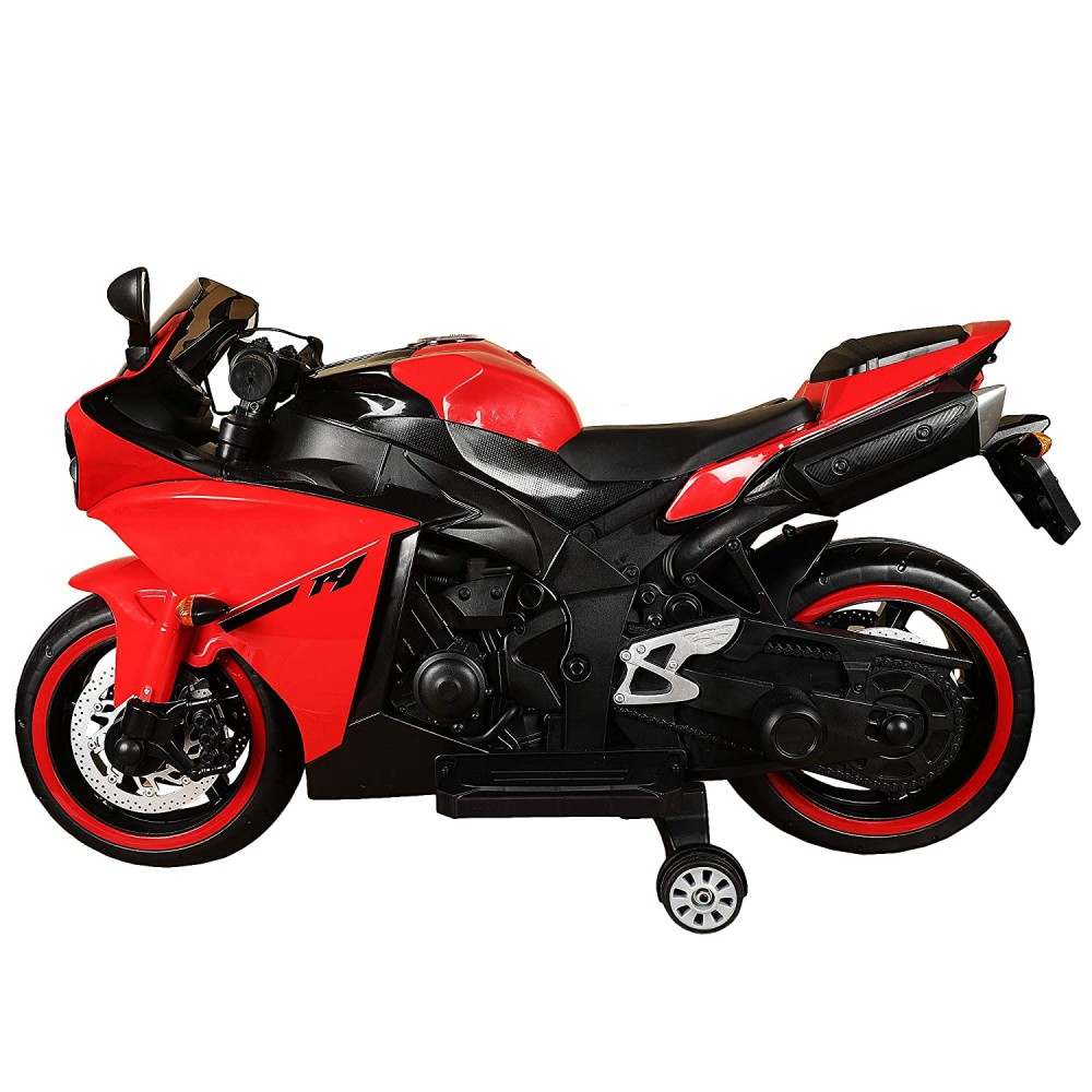Ontek 12V R1 Battery Operted Ride on Bike for Kids with Music and Lights, Metallic Red