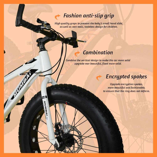MXB010 20 Inch Fat Tyre Mountain Cycle 21 Speed Gears Shimano For Kids Steel Body (White And Black )