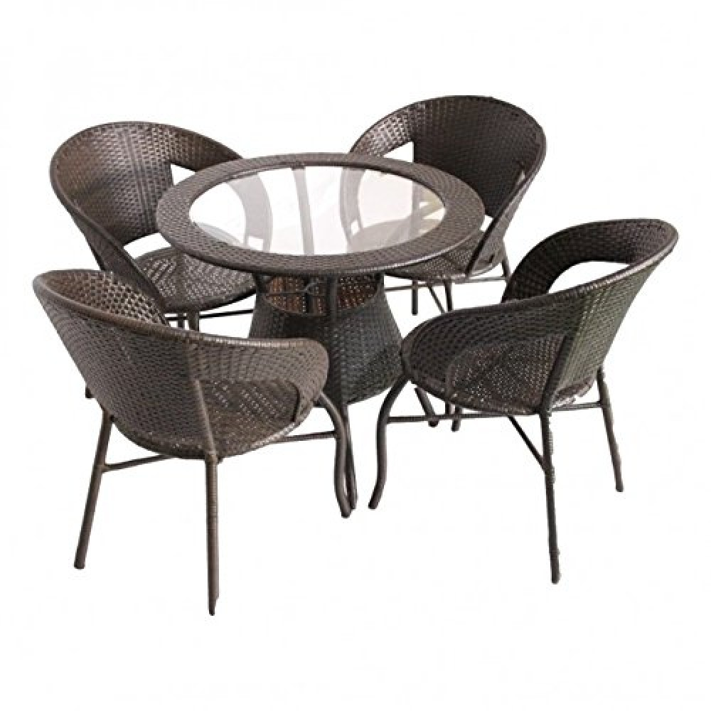 Rio 4 Seater Outdoor Furniture Dining Table Chair Set Waterproof For Balcony