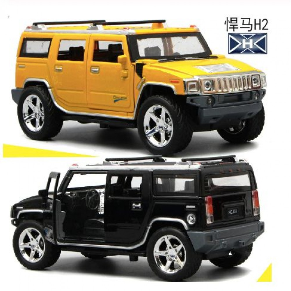 1:20 high simulation Hummer H2 off-road alloy car model Sound and light pull back door boy car toy for children gifts