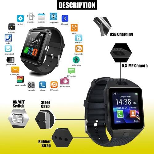 Dz-09 Smart Watch Screen Touch For Men With Bluetooth Calling Wrist Watch