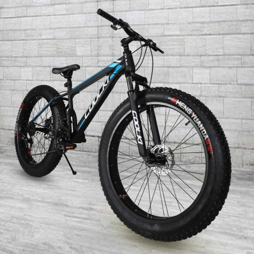 SS026 Fat Tyre Mountain Cycle 21 Speed Gears Shimano For Adults Steel Body (Black Blue)